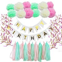 63pcs / set Buon compleanno Banner Tissue Palloncino Tassel Ghirlanda Party Decor