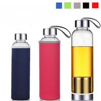 18.5 oz стеклянная бутылка воды чай Infuser бутылка воды Bpa-Free с нейлоновым рукавом с сетчатыми фильтрами из нержавеющей стали