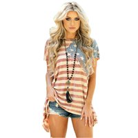 Plus Size 5XL Women American Flag Asymmetric T- Shirt O Neck ...