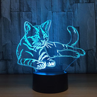 Lovely Cat 3D Night Light Animal Lamp Remote Touch Swithc LE...