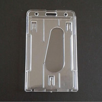 Cancelleria 10x6cm della scuola dell'ufficio di affari di identificazione della carta del doppio del supporto di distintivo di plastica trasparente verticale di trasporto libero QW7379
