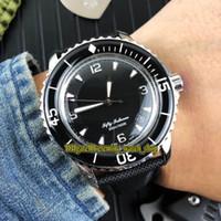 Alta calidad FIFTY FATHOMS 5015-1130-52 Negro Dial Japón Miyota Reloj automático para hombres Cristal de zafiro Bisel negro Correa de nylon para caballeros Relojes