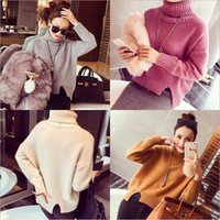 Korean Style Women Tops 2018 Turn Down Neck Knitted Autumn S...