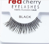 Vente Hot 30 paires de faux cils cerise rouge à la main bande de cheveux cil tige transparente oeil croix faux cils épais S M L