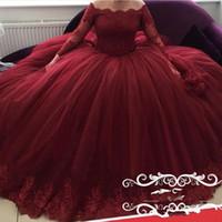 2020 Элегантный Бургундии бальное платье Quinceanera плеча Длинные рукава кружево Аппликация Puffy Сладкие 16 плюс размер Пром платья Wear