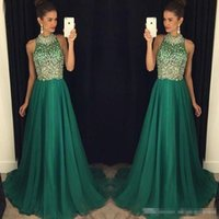 High Neck 2018 Crystal Prom Dresses Dark Green Chiffon Beadi...
