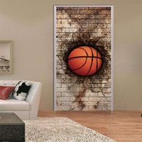77X200cm 3D Creative DIY Door Stickers Bedroom Doors Renovation Waterproof  Wall Mural Basketball Personalized Home Decoration