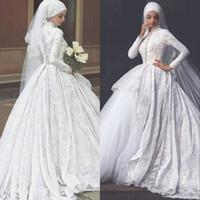 2019 Modest Musulmani Hijab Ball Gown Abiti da sposa Gonne a Tiered Gront High Collo Pizzo Appliques Abiti da sposa Sexy Abiti da sposa islamici sexy