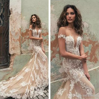 Champagne Mermaid Wedding Dresses 2019 Off Shoulder Lace Whi...