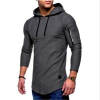 2018 men solid color round neck hooded long- sleeved arm zipp...