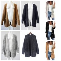 Women Knitting Cardigan Long Sleeve Sweater loose Jacket Lon...