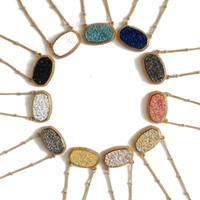 Moda druzy drusy colar brincos kendra prata banhado a ouro falso pedra natural scott colares brincos para as mulheres da marca de jóias