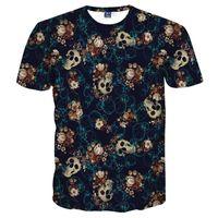 Mr.1991inc Kafatasları Moda T-Shirt Erkekler 'S 3d Tshirt Kısa Kollu Gömlek Komik Baskı Birçok Kafatası Çiçekler Asya B ...