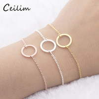 Rose Gold Round Circle Bracelet For Women Copper Geometric B...