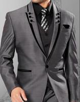 새로운 그레이 맨 웨딩 정장 파브 티드 옷깃 슬림 맞는 신랑을위한 저렴한 웨딩 턱시도 Groomsmen 정장 3 조각 남자 양복 정장 (자켓 + 바지 + 조끼)