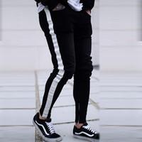 Männer Skinny Angst vor Gott Knie Loch Seitlichem Reißverschluss Schlank Distressed Zerrissene Jeans Männer Zerrissene zerrissen Jeans Für Männer Streifen Dropshipping