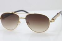 Daha küçük Big Taşlar Gözlük Sıcak Yeni Stil 569 Unisex Siyah Mix White Buffalo Horn Gözlük mens güneş gözlüğü Metal C Dekorasyon altın çerçeve cam