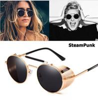 MOQ = 5 pcs Retro Vintage Óculos De Sol De Metal Redondo Estilo SteamPunk Lado Malha Óculos de Marca de Designer Oculos De Sol Shades Proteção UV 8 cores