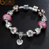 Bracelet de charme en argent de style européen avec pendentif coeur Pendentif Cherry Blossom Charme Perles de verre de Murano rose Bracelet