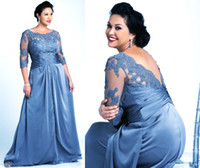 Plus Size Gray Mother Of The Bride Dresses with 3 4 Sleeves ...