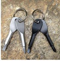 Tournevis en acier inoxydable pour porte-clés à tête plate porte-clés Tournevis pour chaîne porte-clés argent / noir
