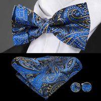 Snelle verzending stropdas marine blues paisley jacquard geweven zijden strikje set standaard snelste geleverde mode mannen accessoires LH-0724
