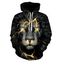 New Fashion Uomo / Donna 3d Felpe Stampa Golden Lightning Lion Hooded Hoodies Sottile Felpe con cappuccio Tops