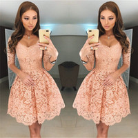 New Blush Pink Lace Prom Dresses With Half Sleeves Scoop Nec...