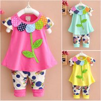 New 2pcs baby Girls clothes tops+ pants Set Outfits spring su...