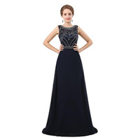 Navy Blue A Line Long Evening Dress 2018 New Beading Crystal...