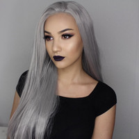 """Parrucca Silver Grey capelli umani parrucche piene del merletto per donne di colore 10 """"-26"""" capelli di Glueless anteriore del merletto poco costosa diritta lunga naturale"""