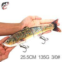 سوبر كبير الحجم 4 شرائح الاصطناعي الأسماك vib الصيد السحر 25.5 سنتيمتر 135 جرام الغوص العميق العظمى الليزر مسك الصيد الطعم السنانير