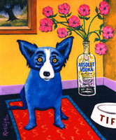 George Rodrigue Animal Blue Dog A Motorcycle, Oil Painting Re...