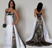 New Design Camo Wedding Dress 2018 Strapless Pleats A Line S...
