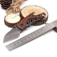 미니 티타늄 포켓 접는 나이프 5Cr15Mov 57HRC 나무 손잡이 병따개 드라이버 사냥 서바이벌 전술 칼 EDC 도구