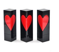 Boş Ruj Tüp Kalp Şekli Siyah Kare Ruj Kırmızı Kalp Desen ile Ambalaj Şişe DIY Kozmetik Konteyner