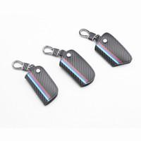 1pc en cuir véritable fibre de carbone sac clé de voiture pour BMW E38 E39 E46 E53 E60 E61 E64 E70 E71 E85 E87 E90 E83 F01 F10 F20 F21 F30 F35