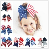 4th of July Cheer Bow Patriotic Glitter Elastic Hair Ties Ch...