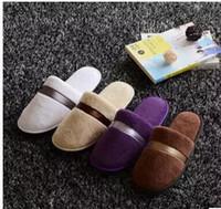 5 cores Soft Hotel SPA não-descartáveis chinelos de veludo colorido 8mm de espessura sola Casual Terry algodão pano Spa chinelos, um tamanho se encaixa mais