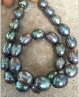 Schnelles freies Verschiffen stnning 10-12mm tahitian barocke schwarze grüne graue Perle Lose Perlen 18inches