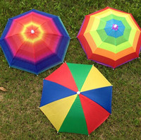 New Product Usefull Rainbow Umbrella Hat Sun Shade Camping F...