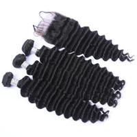 Популярные продукты глубокая волна бразильские девственные волосы ткет 3 шт. С кружева закрытия естественный цвет глубокие вьющиеся волосы расширение с верхней закрытия