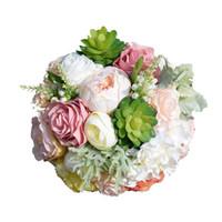 Gül Şakayık Succulents Ile Orman Düğün Için yeni Gelin Buketleri Yapraklar El Yapımı Yapay Düğün Buketleri # BW-B021