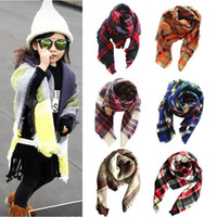 Kids Plaid Scarves Baby Striped Tassels Scarf Kids Tartan Sc...