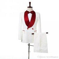 2018 homens se adapte branco vermelho xale lapela casamento ternos noivo Slim Fit smoking 2 peça Custom Made Blazer Prom melhor homem vestido de noite partido