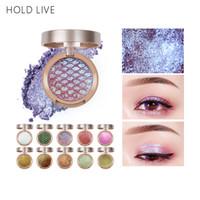 HOLD LIVE Única Sombra 10 Cores Pôr Do Sol Cidade Pigmento Brilho De Ouro Verde Glitter 3D Nudez Sombra de Olho Pallete Maquiagem Set Cosméticos