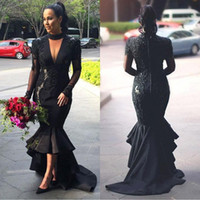 2019 Deep- V- Neck Evening Dresses Mermaid Long- Sleeves Lace A...