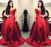 Cheap High Quality Red Evening Dresses Satin A Line Off Shou...