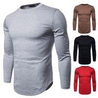 2018 الخريف موجة جديدة من الرجال بأكمام طويلة بلون تي شيرت أدنى قميص التجارة الخارجية رمز الجملة حجم كبير تي شيرت