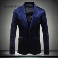 navy blue suit, high- grade embossed fabric design, stage per...